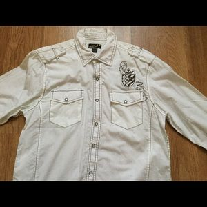 Helix button down white rollup sleeve shirt